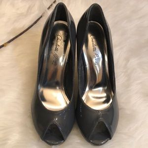 Charlotte Russe Gray patent vinyl peep toe heels